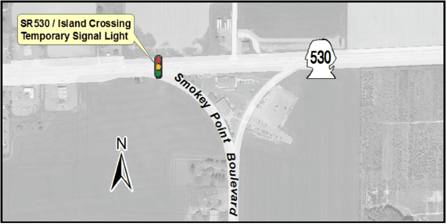 Map showing placement of a temporary traffic signal on Smokey Point Blvd at SR-530
