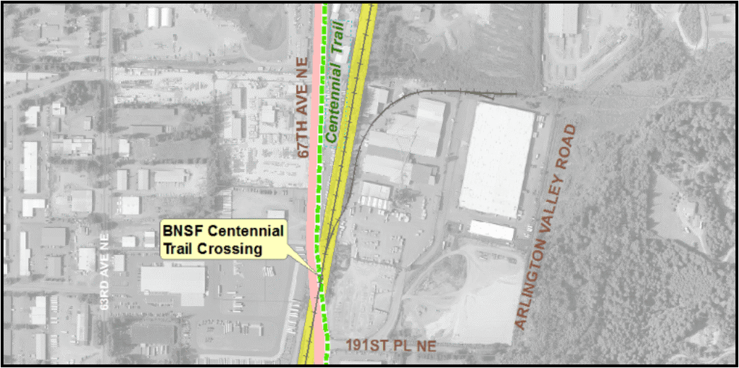 Map showing BNSF Centennial Trail Crossing location to be improved in fall 2019