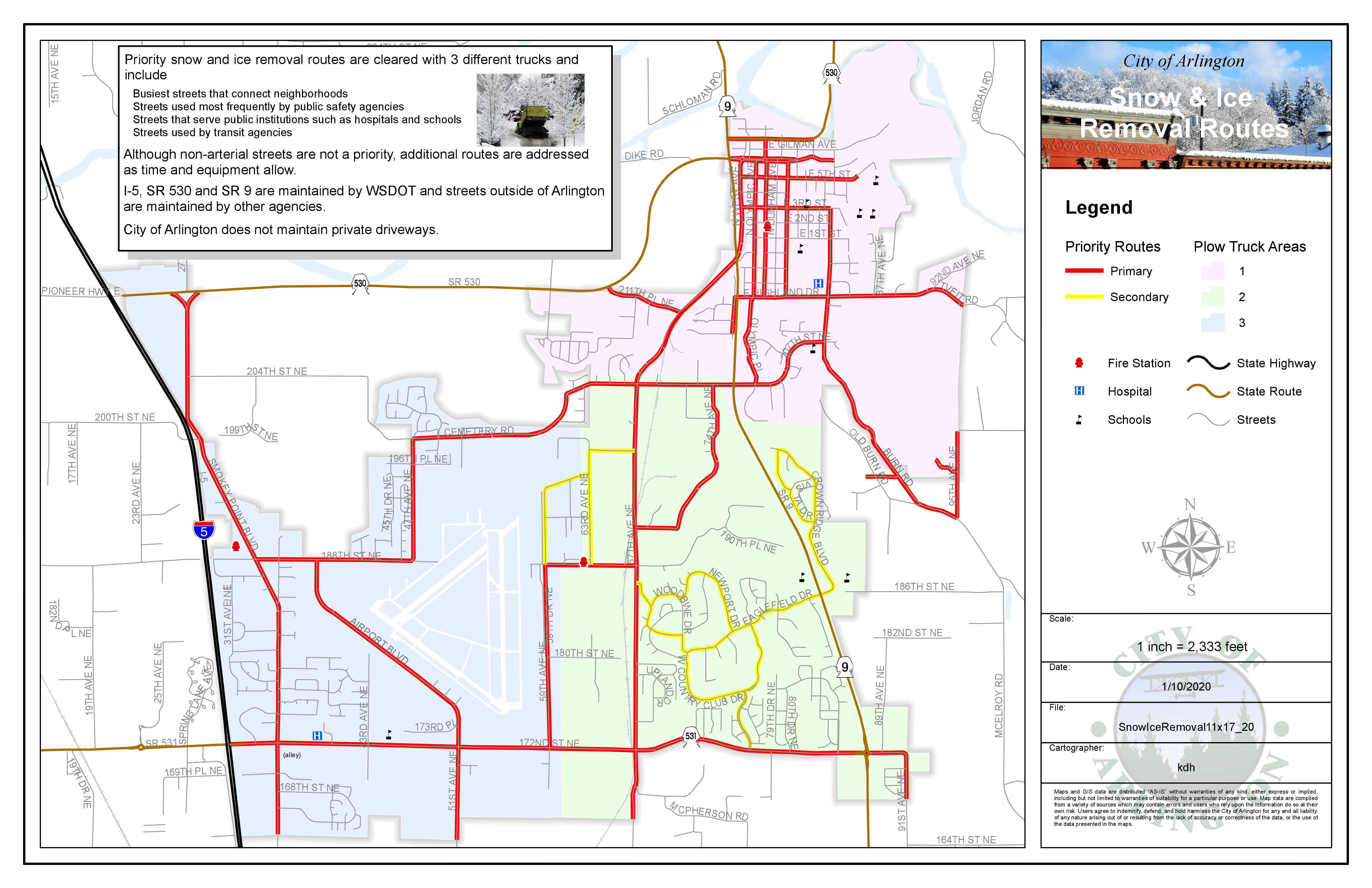 City of Arlington map showing which roads are cleared first during snow or ice events