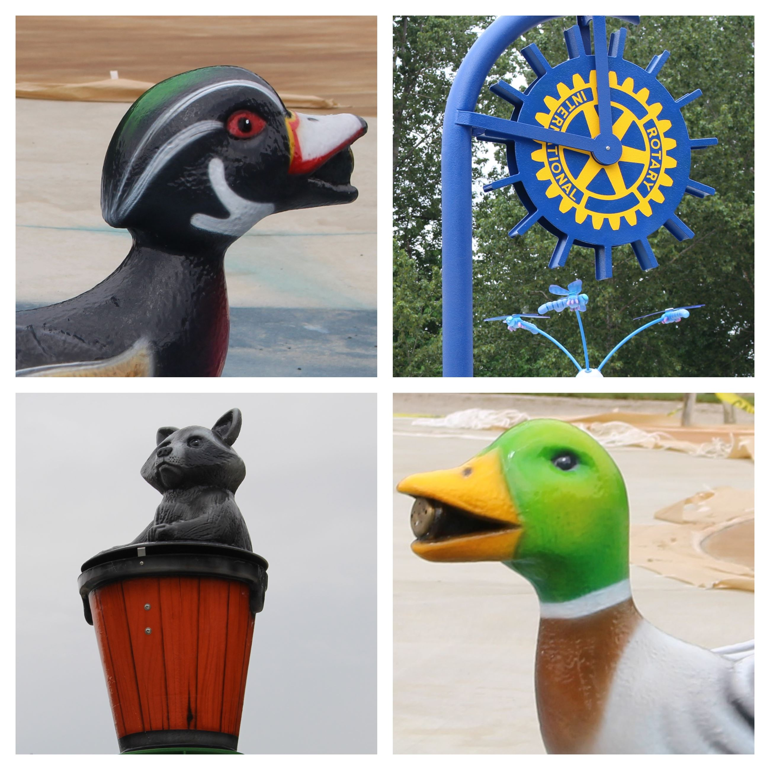 Photos of splash pad toys: woodland duck, water wheel with Rotary logo, raccoon in wood barrel, mall