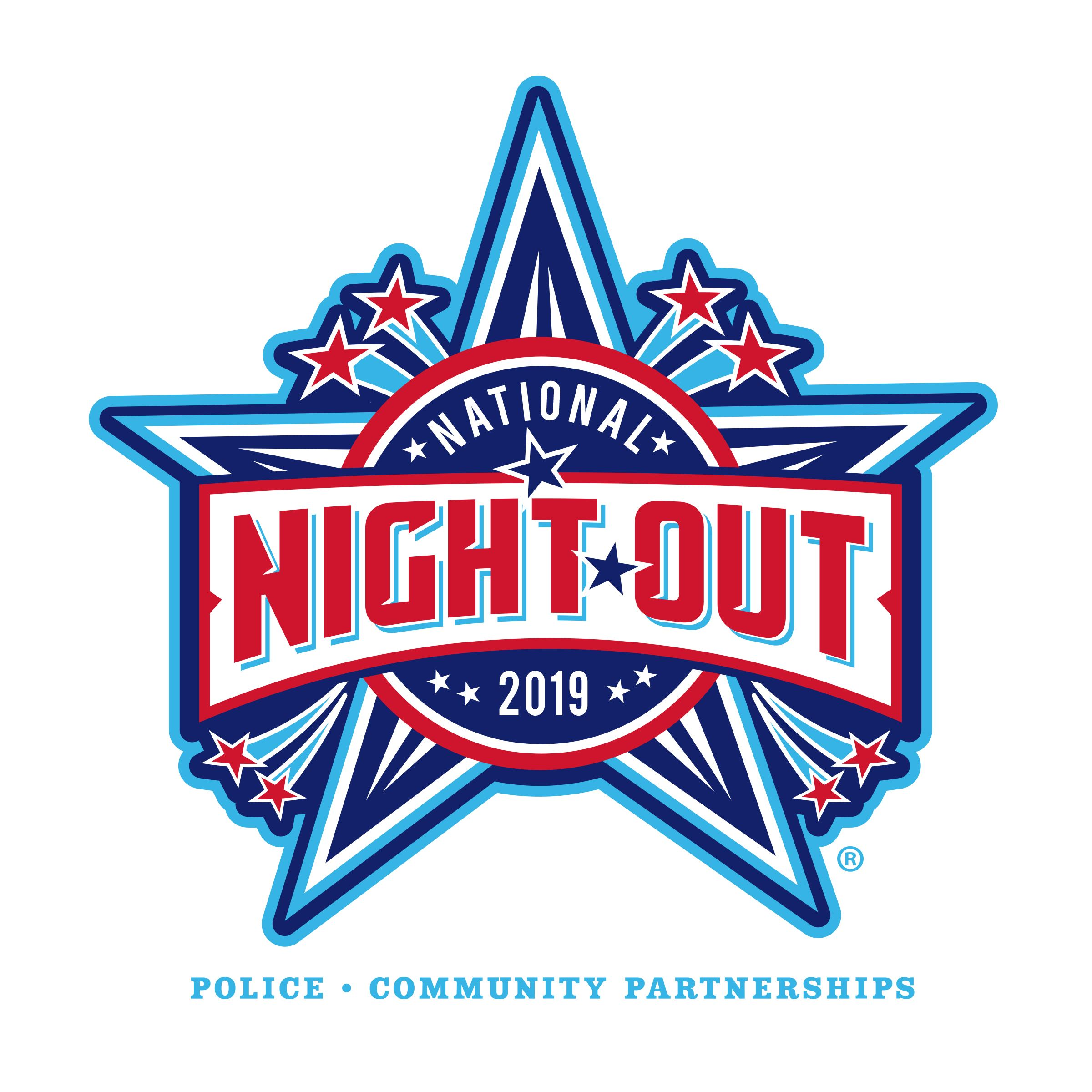 "National Night Out logo red, light blue and white stars with ""National Night Out 2019"" written"
