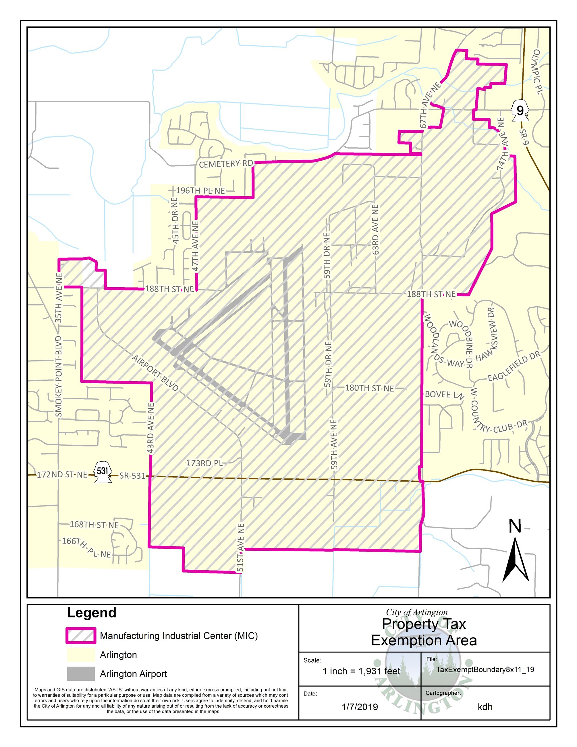 Map of area qualifying for property tax exemption