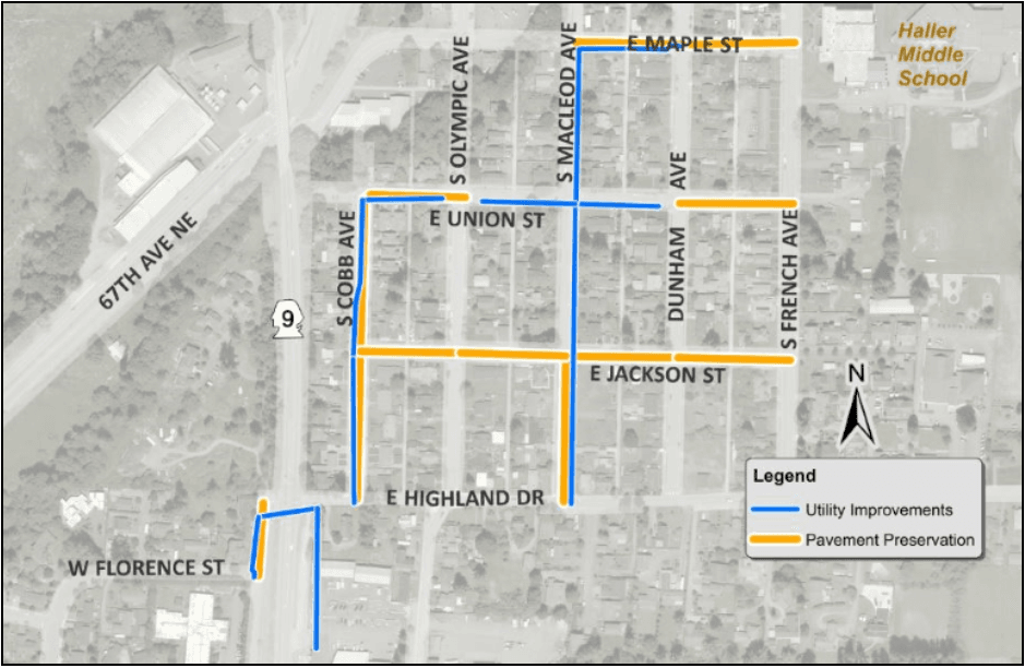 Map showing where utility and pavement will be replaced in Arlington in 2019